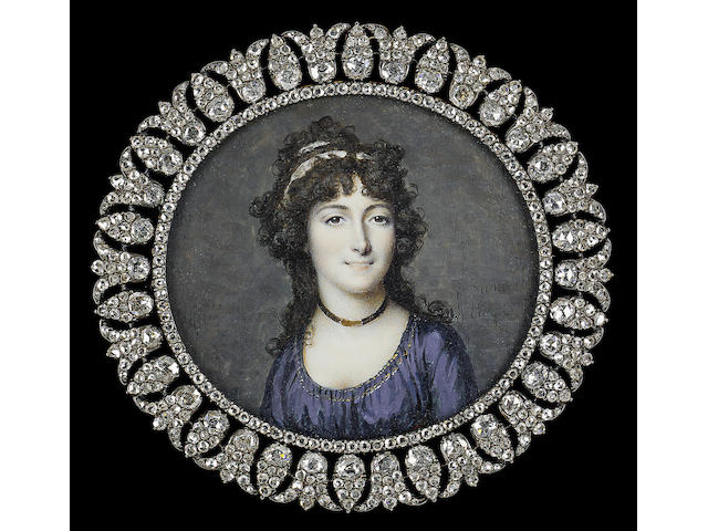 François Dumont, A Lady, wearing dark blue dress with gold trim, black ribbon necklace with gold clasp and white ribbon in her dark curled hair
