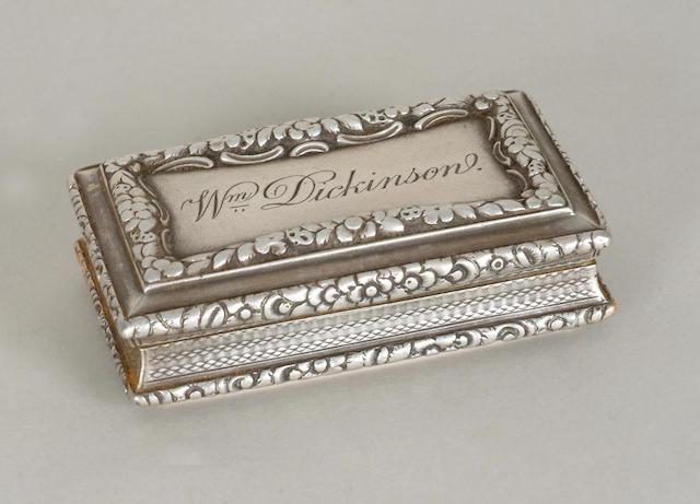A William IV snuff box Nathaniel Mills, Birmingham 1835,