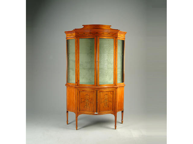 An Edwardian satinwood and marquetry display cabinet