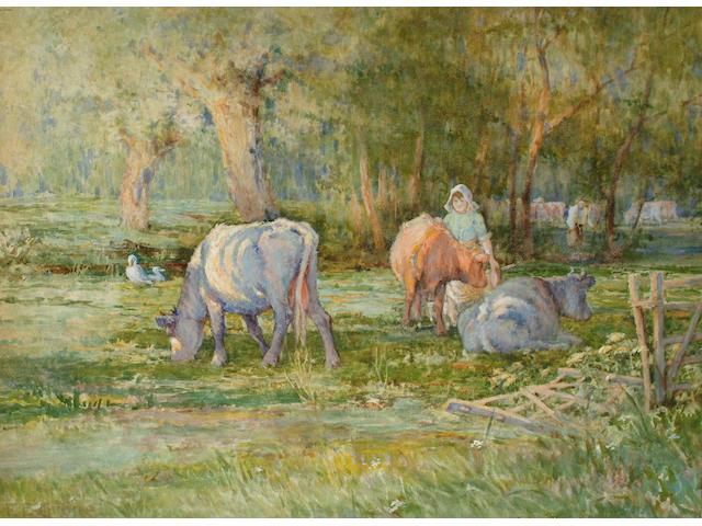 Ferdinand E.Grone (British, fl.1888-1919) Cattle in a field, 54 x 74 cm.
