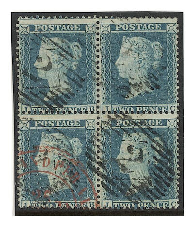 """1855 (July) 2d. LC14 plate 5: IB-JC used block, cancelled by London """"2"""" cancels and part red c.d.s., slight wrinkle, otherwise fine. S.G. Spec. F6."""
