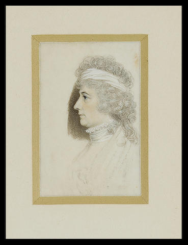 George Engleheart, An unfinished portrait of a Lady, profile to the left, wearing white lace collar, stock and bandeau in her powdered hair