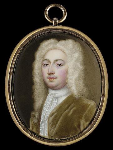 Christian Friedrich Zincke, A Gentleman, wearing full-bottomed powdered wig, moss-green coat and long white lace jabot
