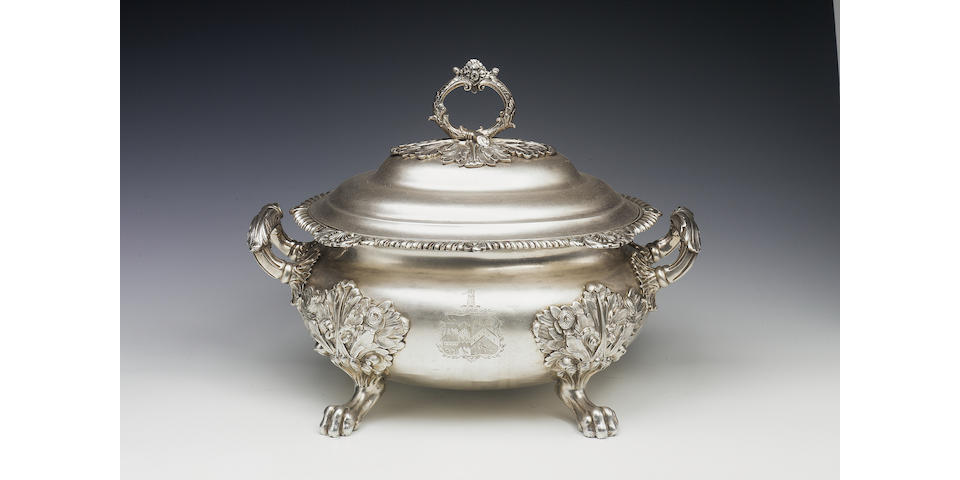 A George III bellied oval soup tureen and cover by Solomon Hougham, Solomon Royes & John East Dix, 1818,
