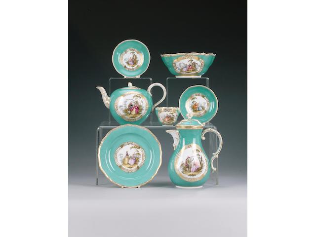 A Meissen style turquoise tea service, circa 1880,