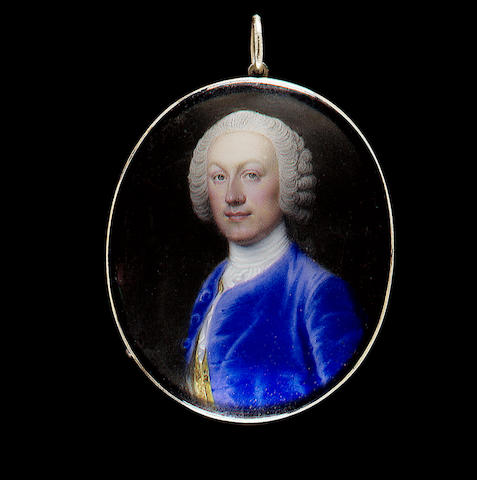Jean André Rouquet, A Gentleman, possibly Sir Edward Lloyd, wearing blue coat, gold figured waistcoat and white cravat
