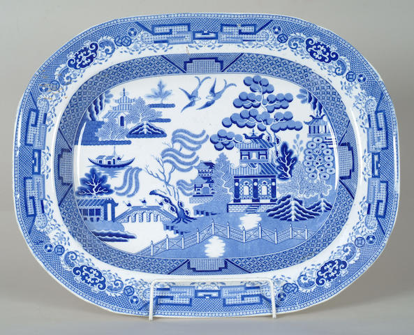 A pair of Ynysmedw blue and white meat plates 45cm