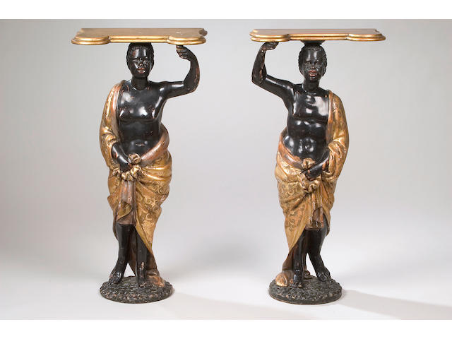 A pair of late 19th Century Venetian Blackamoor pier tables,
