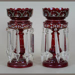 A pair of Victorian ruby glass lustre drop vases