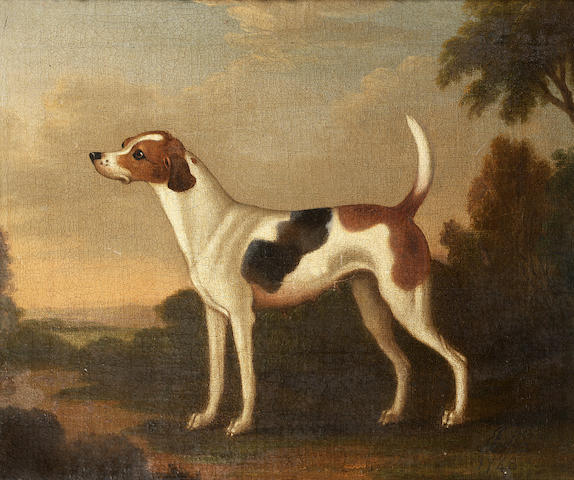 James Seymour (London 1702-1752) Hounds in a landscape 30.4 x 35.5 cm. (12 x 14 in.) (2)