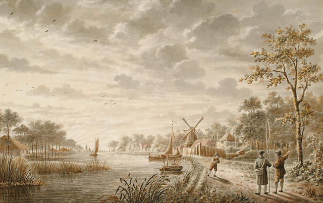 Dutch School, c. 1800 235 x364mm together with another landscape by the same artist (a pair)