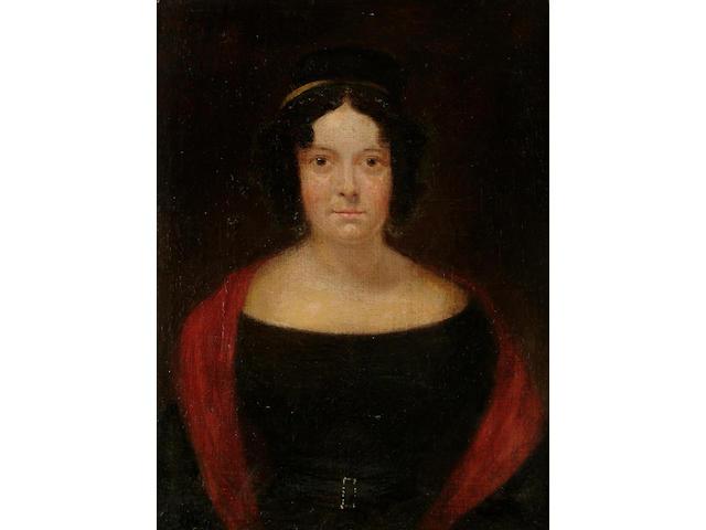 English School (19th Century), Portrait of a lady wearing a black dress and a red shawl, 40 x 29cm.