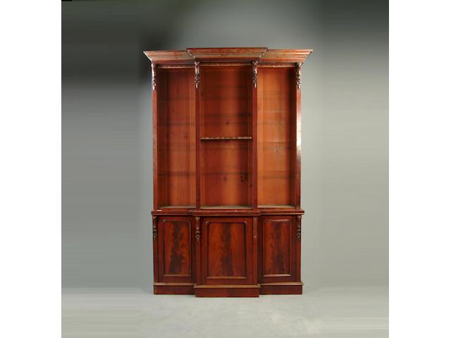 A Victorian mahogany breakfront bookcase