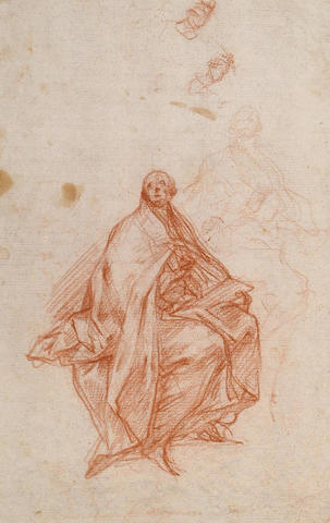 Carlo Bartolomeo Borsetti (1689-c.1759) Figure of a (bishop?) saint, a further study for the same figure and two sketches of a hand(recto) Two seated draped male figures looking up with right arms raised (verso) 265 x 179mm