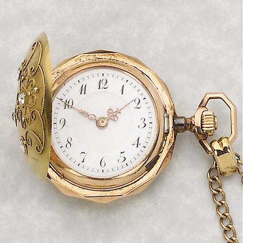 A 14ct gold diamond set fob watch