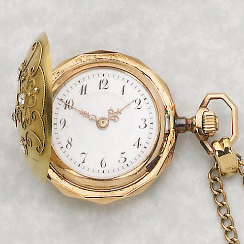 A 14ct gold diamond set fob watch
