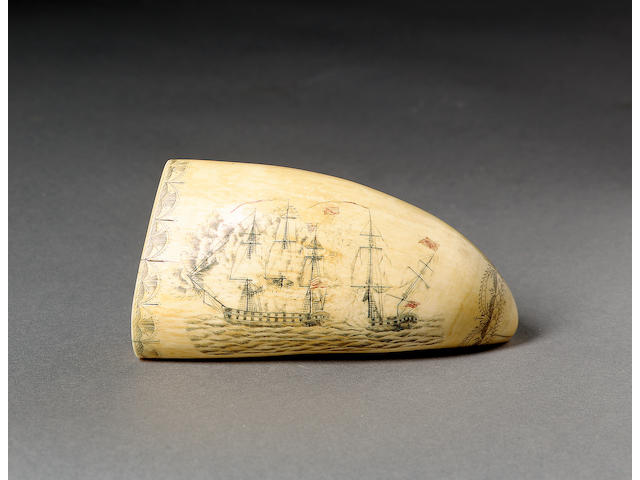 A Good Decorated Whale's Tooth 14 x 6 x 4.5cm.(5.5 x 2.5 x 1.75in.)