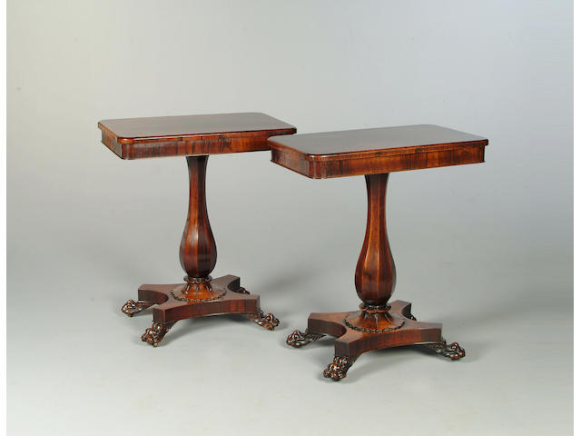 A pair of rosewood occasional tables