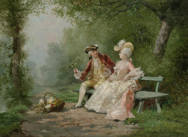 Theodore Levigne (French, 1848-1912) The Courtship, 46.5 x 63cm