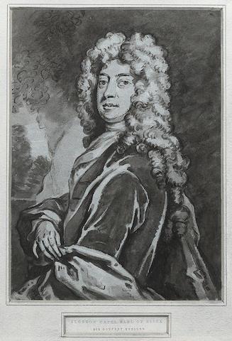 Sir Godfrey Kneller (1646-1723) Half-length portrait of Algernon Capel, 2nd Earl of Essex, 11 x 8 in (28 x 20.2 cm).