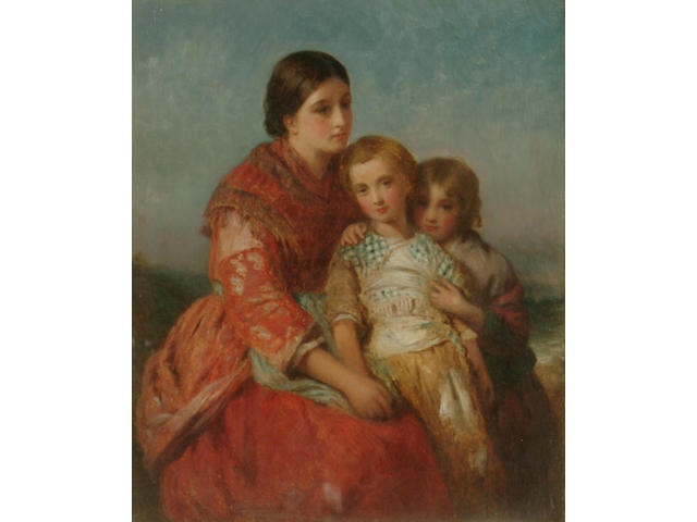 Charles Baxter (British 1809-1879) Mother and children beside the sea, 30.5 x 25.5cm