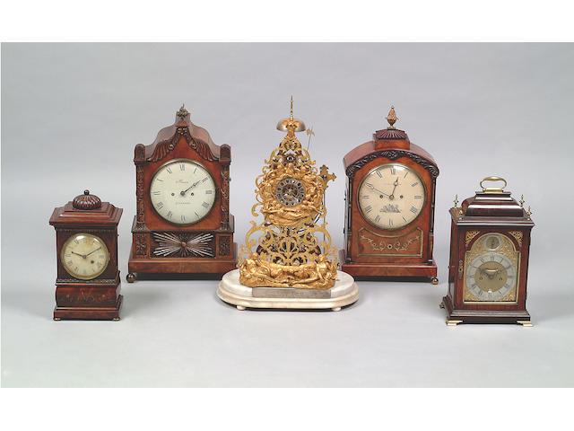 John Downes, London: An early George III fruitwood bracket clock,
