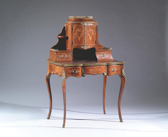 A late 19th Century inlaid rosewood bonheur du jour,