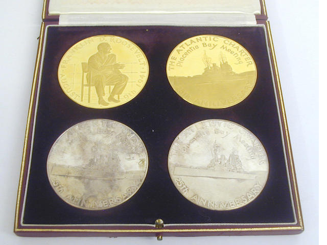 Sir Winston Churchill and Franklin D Roosevelt 25th Anniversary Atlantic Charter commemorative medal