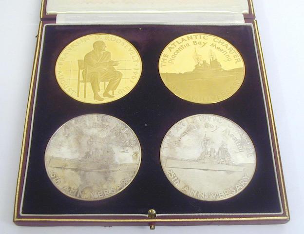 Sir Winston Churchill and Franklin D Roosevelt 25th Anniversary Atlantic Charter commemorative medal