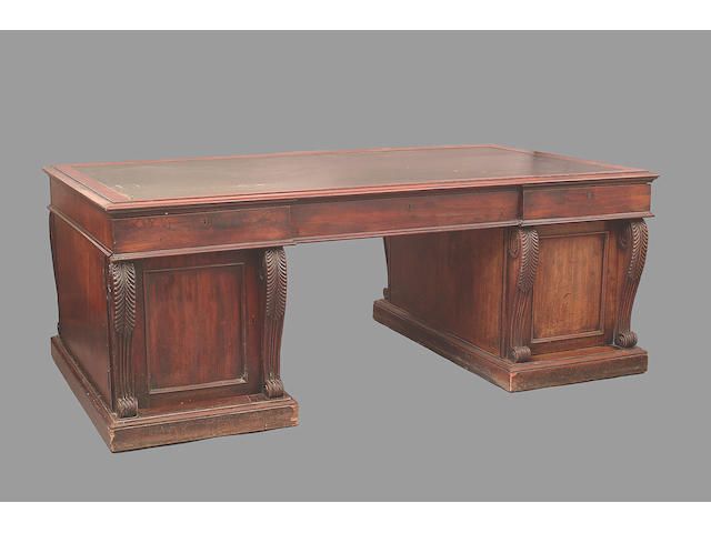A George IV mahogany twin pedstal partners desk,