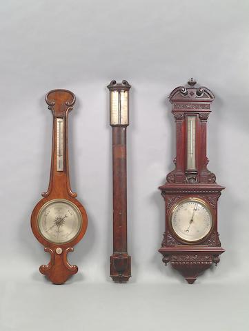 A George III mahogany bowfront stick barometer,