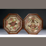 A Large Cased Double Octagonal Shell Valentine 35 x 35cm.(14 x 14in.)each.