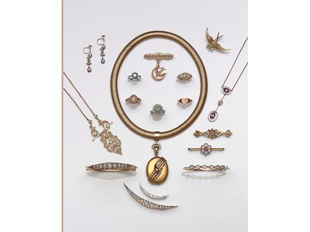 A peridot and seed pearl openwork pendant