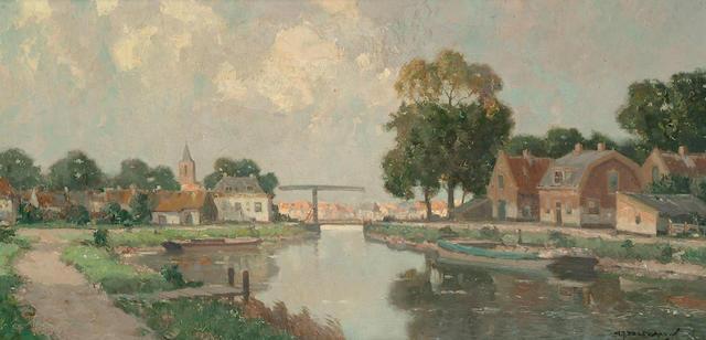 Gerard Johannes Delfgaauw (Dutch, 1882-1947) A Dutch town on a river, a bridge beyond, 39.5 x 79cm