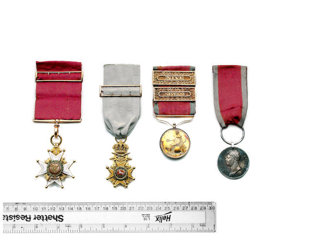The superb Peninsula C.B., K.H. and Small Army Gold Medal group of four to Major Augustus Heisse, Ki