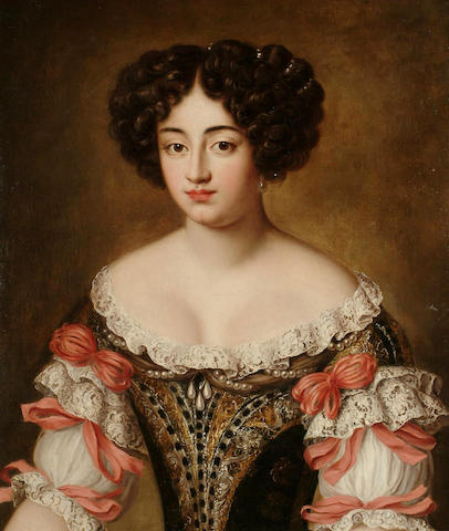 Follower of Jacob Ferdinand Voet Portrait of Maria Mancini, bust-length, in a brown embroidered dress with lace trim and pink bows, 73 x 61 cm