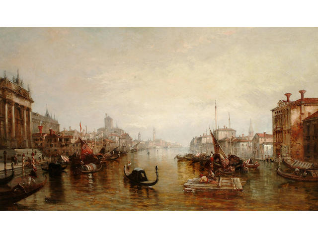 Alfred Pollentine (British, fl. 1861-1880) On the Grand canal, Venice, 77 x 127cm