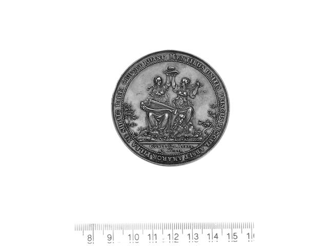 Peace with Holland, 1654, by Sebastian Dadler, silver, 61mm., Britannia and Hollandia, seated togeth