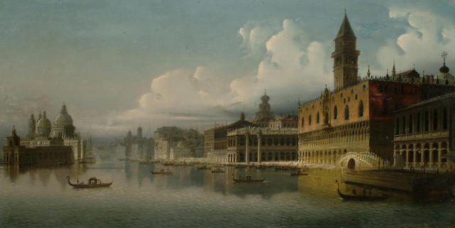 J. Wilhelm Jankowski (Austrian, 1825-1870) The Doges Palace, Venice, the Grand Canal beyond, 46 x 90