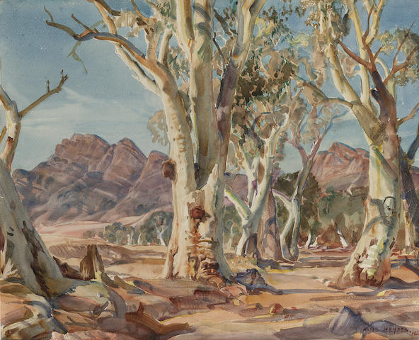 Sir Hans Heysen (Australian, 1877-1968) Ghost Gums 33 x 40.7 cm. (13 x 16 in.)