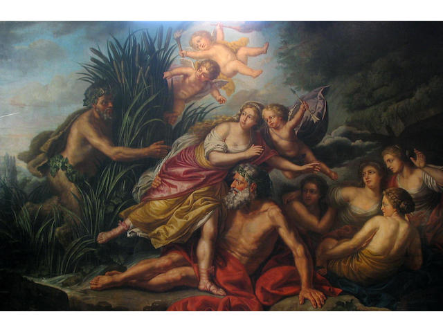 French School, 18th Century, Pan and Syrinx, 213.5 x 335cm