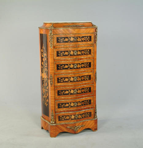 A late 19th century kingwood, and marquetry semainer