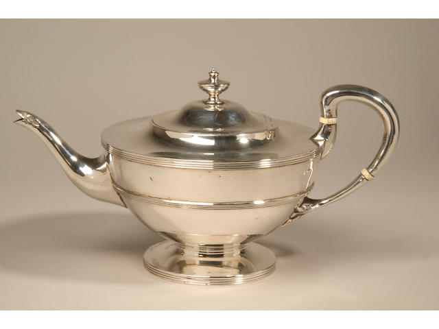 A three piece tea service, in the Regency style, by Robert & William Sorley, Glasgow 1935,
