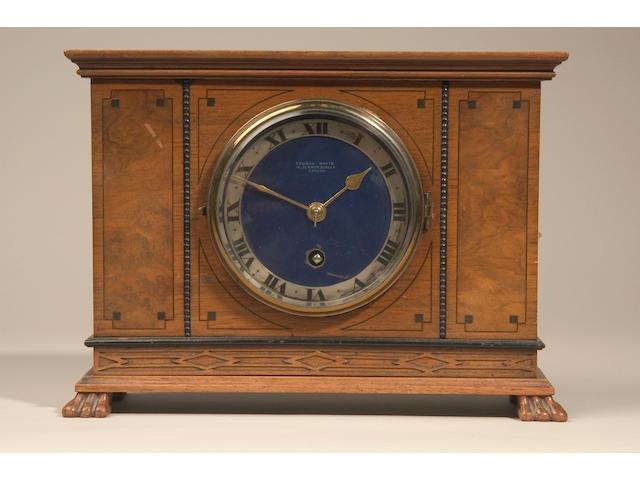 A walnut and ebony strung mantel timepiece,