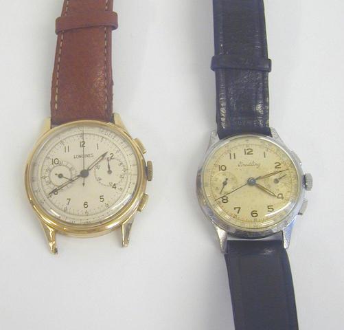 Longines - a gentleman's 9 carat gold wristwatch,