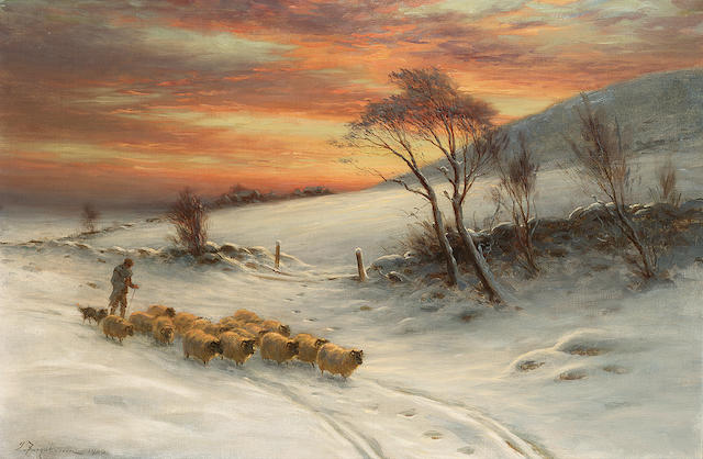 Joseph Farquharson RA (1846-1935) 'When day expiring in the west, the shepherd tends his flock' 50 x 76cm (20 x 30ins)
