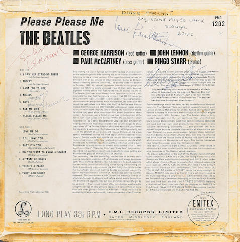 An autographed copy of the album 'Please Please Me',  1963,
