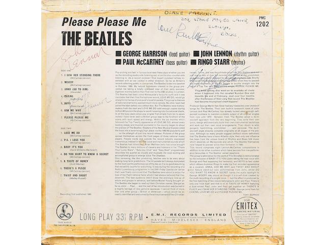 An autographed copy of the album 'Please Please Me', 1963,