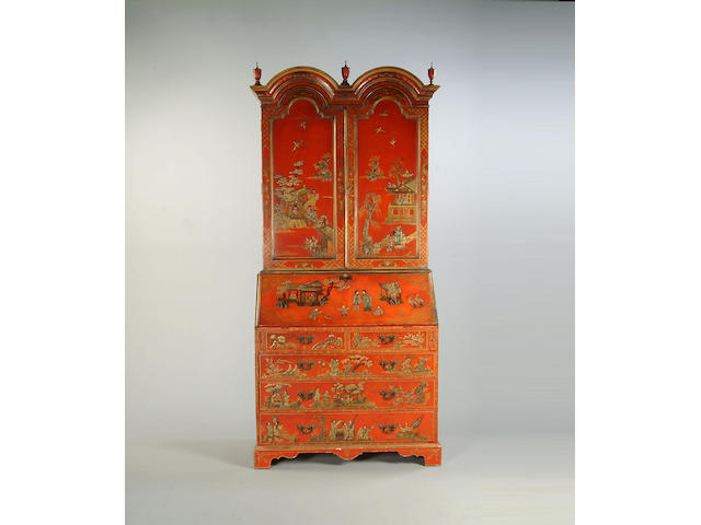 A reproduction scarlet chinoiserie lacquered bureau cabinetin the George II style,