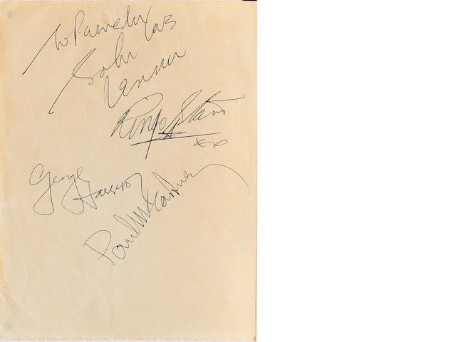 A set of Beatles autographs, 1963/64,